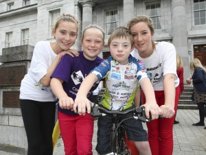 free pic no repro fee Gillian O'Gorman, Emer Hunt, David and Aisling O'Gorman all from Glanmire  ,The Journey Begins at the 12th Annual Tour de Munster Charity Cycle In aid of Down Syndrome Ireland at City Hall Cork ,Cycling legend Sean Kelly today led 140 amateur cyclists from the City Hall in Cork on a 640km Charity Cycle around the six counties of Munster, which will take place over the next four days, with all proceeds going to Down Syndrome Ireland picture by GMC Photography 087 8537228 more info contact Mary Quille  Fuzion Communications   021 4271234   086 866 2225