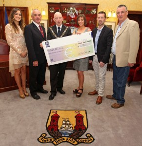 EEjob 24/05/2013<br /> Echo News.<br /> Pictured during the presentation of the proceeds from the Lord Mayor's Cancer Charity Gaa Game in aid of Cork ARC Cancer Support House, Lord Mayor Cllr John Buttimer presents Hilary Sullivan, Cork ARC Cancer Support House with the cheque, also included are event organisers, Rececca Milner, Jim Ryng, Bishopstown Gaa Club, Rory Noonan, Evening Echo and Robin Murray, Bishopstown Gaa Club, at the City Hall, Cork.<br /> Picture: Jim Coughlan.