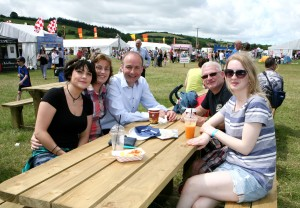 Fianna Fail Leader Micheal Martin TD relaxing at the Cork Summer Show L to R., Ciara and Dolores Fehilly and Martin Fehilly and Kate Magner, Ballinhassig. Picture, Tony O'Connell Photography.