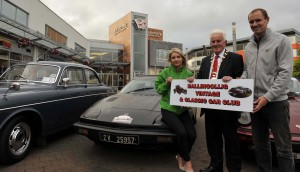 Deirdre Finn, Community and Events Fundraiser Mercy Hospital, John O'Leary, President and Colin Healy, Cork City Football Club at the launch of the Ballincollig Vintage and Classic Car Club's Annual Show which will be held at the Ballincollig Shopping Centre car park from 24 th. to 26 th. July. Picture: Mike English