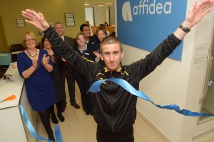 Formerly Euromedic Cork announced their rebranding to Affidea Cork. World Champion Walker Rob Heffernan cuts the tape at rebranded Affidea Cork, watched by staff members. Included are Geraldine Kelly, COO Affidea Ireland, Cora Carrell, Clinic Manager Affidea Cork, Tom Finn, CEO Affidea Ireland, Tonnel Toledo, radiographer, Kate Duffey, Reception and Deniese Callan, Radiographer. Picture: John Sheehan Photography