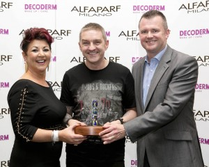 ALFAPARF Inixia Photographic Award winner Wayne Lloyd, Wayne Lloyd Hair, Cork, with Beatrice O'Donovan, ALFAPARF and Richard Barry, ALFAPARF National Sales Manager at the ALFAPARF Fantastic Hairdresser Awards 2015 Photo Chris Bellew / Copyright Fennell Photography 2015
