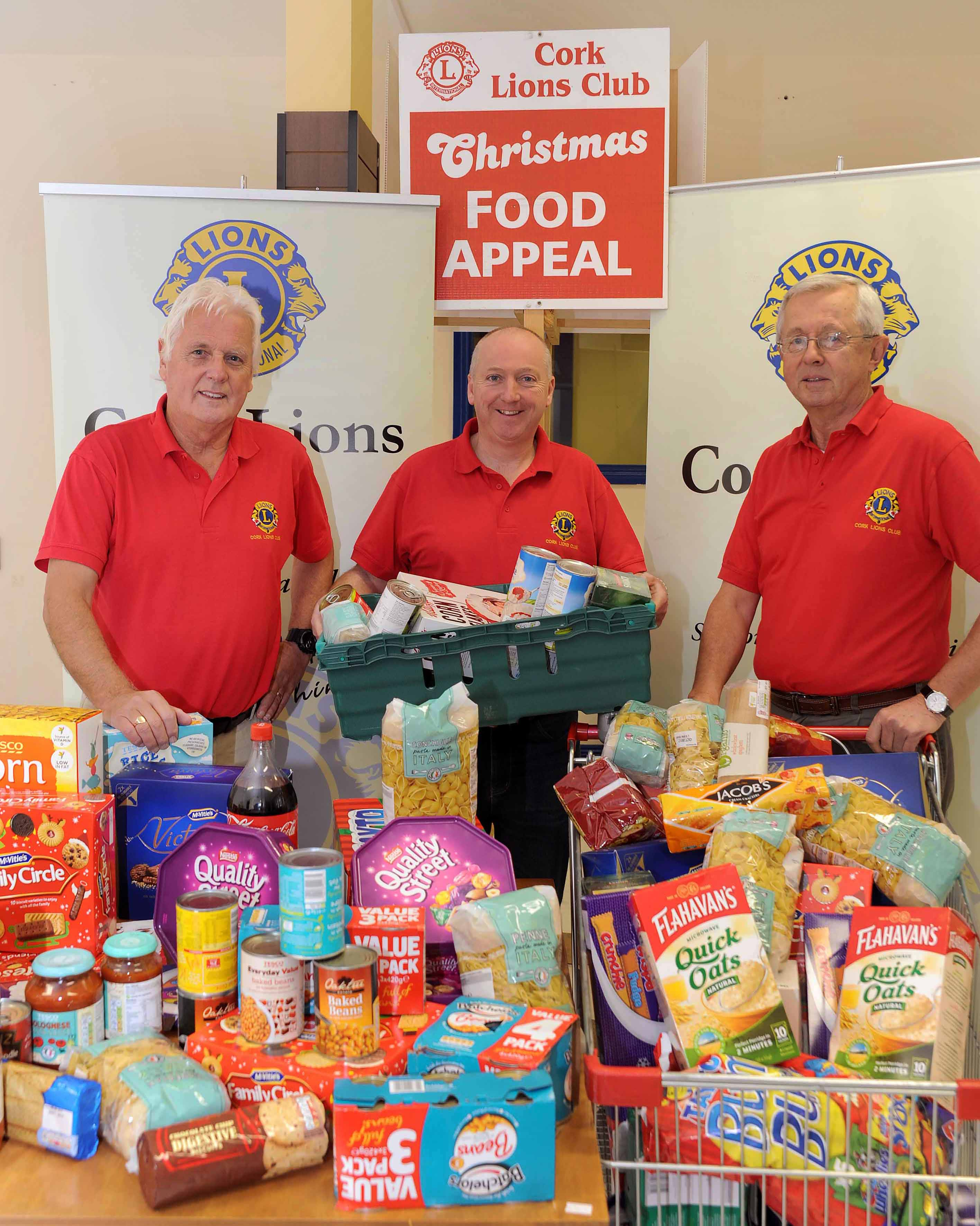 REPRO FREE 03/12/2015 Der Cogan (President), Simon Stokes (Christmas Appeal Co-ordinator) and Tim Donovan (Hon. Sec.) launching the Cork Lions Club Christmas Food Appeal. Gifts for the appeal will be collected at Merchant's Quay SuperValu Thursday 10th - Saturday 12th and at Ballyvolane Dunnes Stores Thursday 10th - Friday 11th and at Glanmire SuperValu Monday 14th - Wednesday 16th. The Lions Clubs are completely voluntary and every cent goes to charity. Photo: Billy macGill