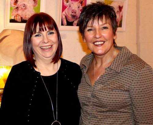 L to R. Artists Ber Murphy and Anne Browne at the recent opening of their second joint Back2Back Art Exhibition in On The Pig's Back Cafe, Douglas, Cork.