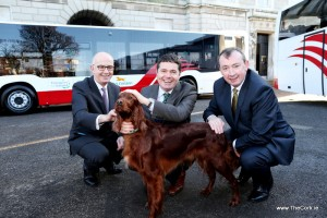 15/01/2016 NO REPRO FEE, MAXWELLS DUBLINBus Éireann launch new €50m fleet of the future – over 100 new buses for services nationwidePic shows ( l to r ) Tim Gaston,  Director of Public Transport Services, National Transport Authority, Minister for Transport, Tourism & Sport, Paschal Donohoe TD, Martin Nolan, CEO Bus Éireann and Teelin the dog. Funding for 116 new vehicles was provided by the Department of Transport, Tourism and Sport via the National Transport Authority (NTA). Four of these new models were on show, which included 82-seater double deck commuter coaches, and 78-seater double deck buses. The state-of-the-art vehicles feature extra legroom, power sockets [on commuter coaches], free WiFi, monitors with Real Time Passenger Information, are wheelchair accessible and have lower fuel emissions.For further information or images please contact Nicola Cooke, Media & PR Manager, Bus Éireann at (01) 7031759 or (087) 7806125PIC: NO FEE, MAXWELLPHOTOGRAPHY.IE