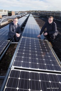 DKANE 18/01/2016 REPRO FREE ENERGY CORK HOST IRELAND'S FIRST MAJOR SOLAR POWER CONFERENCE: Pictured at the launch of the national solar power conference are Energy Cork Chairman Michael Quirk and Energy Cork Cluster Manager Kieran Lettice (on the Zero 2020 building at CIT). The conference will see policy makers, industry and solar power experts convene in Cork on 29 January 2016 to discuss Ireland's Solar Energy future. Registration is essential and places are limited https://solarfuture.eventbrite.ie/ PIC DARRAGH KANE