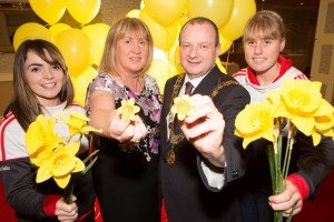 DKANE 30/01/2016 REPRO FREE Jess O'Shea and Emma Farmer, Cork Ladies GAA with Lady Mayoress Angela O'Leary and Lord Mayor Cllr Chris O'Leary at the launch for the Irish Cancer Society's  Cork Daffodil Day in the Vienne Woods Hotel. Daffodil Day takes place nationally on the 11th of March. Thousands of volunteers around Ireland sell daffodil pins and flowers (on streets, in businesses, homes and shopping centres) to raise money for the Irish Cancer Society's free, nationwide services for those with, and affected by, cancer in Ireland. Daffodil Day is the biggest and longest running fundraising day for the Society, Ireland's national cancer charity.  - See more at: http://www.cancer.ie/get-involved/fundraise/major-fundraising-drives/daffodil-day#sthash.JOYwaqGI.dpuf PIC DARRAGH KANE