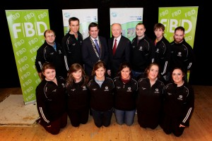 Pictured at the All-Ireland final of Macra's FBD Capers competition are (Back row) James Healy, Eugene Lee, Shane Horgan, Sean Wallace & Daniel Buckley. (Front row) Emily O' Donovan, Heather Healy, Sarah Louise Horgan, Rachel Kelleher, Elaine O' Connell & Mary Collins of Donoughmore Macra, Muskerry, Cork with Macra National President, Seán Finan, and FBD'S Gerard Cott.