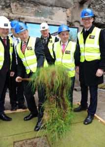 An Taoiseach Enda Kenny turning the sod at the site of the old Capitol cinema complex in Cork yesterday. Photo Billy macGill.