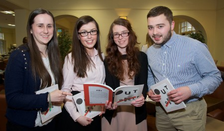 Laura Kent Kilcully, Laura Hanover Douglas, Karen Hayes Rathpeacon and Shane Ahern Duagh Co. Kerry pictured at the launch of Business Information Systems' (BIS) Anthology 'Out of Self', showcasing the creative work of BIS students, in UCC on Thursday, March 10th.