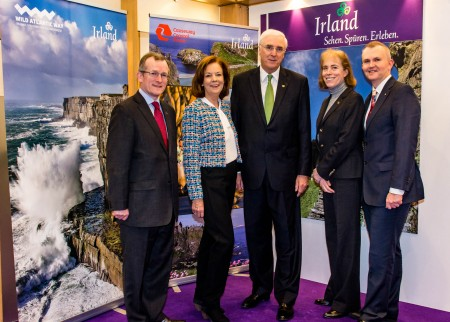 REPRO FREE 10/03/2016, Berlin, Germany – The largest travel trade fair in the world, ITB in Berlin, is taking place this week. Twenty-two (22) tourism companies from Ireland and Germany have joined Tourism Ireland at the fair, in a bid to grow Ireland's share of the German travel market – the world's third-largest outbound travel market. PIC SHOWS: Niall Gibbons, CEO of Tourism Ireland; Joan O'Shaughnessy, Vice Chairman of Tourism Ireland; HE Michael Collins, Irish Ambassador to Germany; Anita Gackowska and Kevin Cullinane, both Cork Airport, on the Tourism Ireland stand at ITB Berlin. Pic – Jürgen Sendel (no repro fee) Further press info – Sinéad Grace, Tourism Ireland 087-685 9027