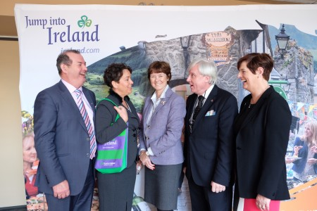 REPRO FREE 07/03/2016, Philadelphia – Tourism Ireland, together with tourism companies from around the island of Ireland is mounting a major presence at this year's Philadelphia Flower Show, to target the growing number of Americans interested in visiting our gardens. PIC SHOWS: Michael Martin, Fota House, Arboretum & Gardens; Margaret Jeffares, Good Food Ireland; Alison Metcalfe, Tourism Ireland; Francis Brennan, Park Hotel Kenmare; and Jenny De Saulles, Fáilte Ireland, on the Tourism Ireland stand at the Philadelphia Flower Show. Pic – James Higgins (no repro fee) Further press info – Sinéad Grace, Tourism Ireland 087 685 9027