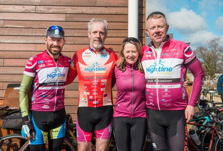 Pictured from left are Declan Carey, Douglas, Pascal Dorney, Greenmount, Rose Murphy, Rathpeacon and Richard Dineed, Kinsale. The Tour de Munster held their official charity partnership announcement event at Ballyseedy Home & Garden Centre, Tralee on Saturday 16th April 2016. Down Syndrome Ireland (DSI) was once again named as the beneficiary of this year's Tour de Munster cycle which takes place from 4th August to 7th August 2016. Pic: Pauline Dennigan. For more info see www.tourdemunster.com