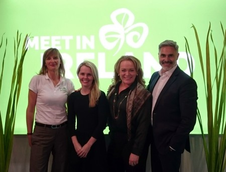 Three Irish tourism companies travelled to France recently, to attend Heavent Meetings. The two-day trade show for the MICE (meetings, incentives, conferences and events) and business travel sector took place at the Palais des Festivals et des Congrès in Cannes.  PIC SHOWS: Caroline Phelan, Tourism Ireland; Deirdre Purcell, Intercontinental Dublin; Niamh Burns, The Convention Centre Dublin; and Frédéric Charlot, Joe O'Reilly Ireland group, at Heavent Meetings in Cannes. Pic – Tourism Ireland (no repro fee)