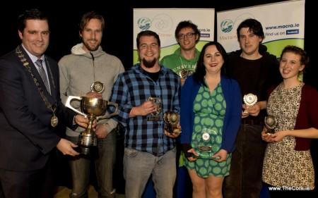 Winners of the Macra na Feirme Amateur Drama Final are Clonakilty Macra. (l-r) Sean Finan, Greg Mulcahy, Jer Fitzpatrick, John O'Leary, Ann Murphy, Padraig Griffin and Aine Tobin