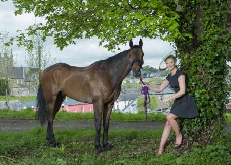 Free Pic no repro fee  Caroline Crowley and Damut launching Bandon Show 2016 which takes place in Bandon Show Grounds Sunday May 22nd 2016. Fantastic Prizes on the day for best dressed lady, gent, family and teenager. Pictures by Gerard McCarthy 087 8537228   more info contact caroline@charlespcrowley.com
