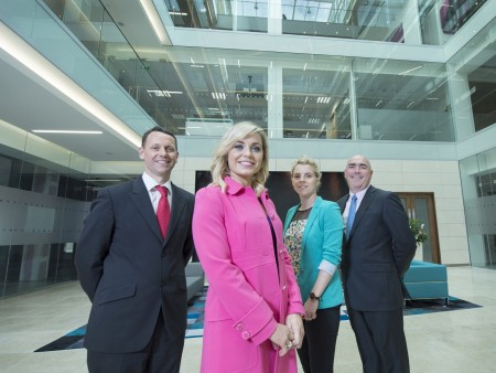 Free Pic no repro fee  Pictured celebrating PwC's move to One Albert Quay, Cork l-r: Anthony Reidy, Assurance Partner, PwC Cork; Anna Geary, WGPA Executive Committee member and former All Ireland winning Camogie Captain; Valerie Mulcahy, WGPA Executive Committee member and 10 times all Ireland football Champion and Ger O'Mahoney, PwC Cork Senior Partner.  Pictures by Gerard McCarthy 087 8537228   more info contact Johanna Dehaene 086 8106542