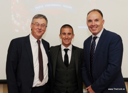 Olympic Bronze Medallist Rob Heffernan addressed business people from the Licensed Trade sector at an event for Bank of Ireland Business Banking customers in Cork. The address was themed 'Importance of Motivation in Business and Sport' and took place at Hayfield Manor, Cork. The event was also addressed by Dermot McHugh, Head of Business Banking, Cork City. Pictured Dermot McHugh, Head of Business Banking, Cork City, Rob Heffernan, and John McAllen, Head of Business Banking, Munster. Photo Billy macGill