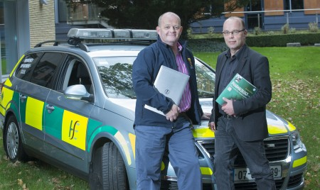 free pic no repro fee Dave Hick Program Coordinator and  Prof Frank van Pelt Program Coordinator at the announcement that University College's Cork School of Medicine has launched a BSc Hons Paramedic Studies - Practitioner Entry degree for practising Paramedics.   Photography by  Gerard McCarthy 087 8537228 more info contact  Gregory Higgins UCC's College of Medicine and Health Press Officer 0861586235 or Gregory.Higgins@ucc.ie